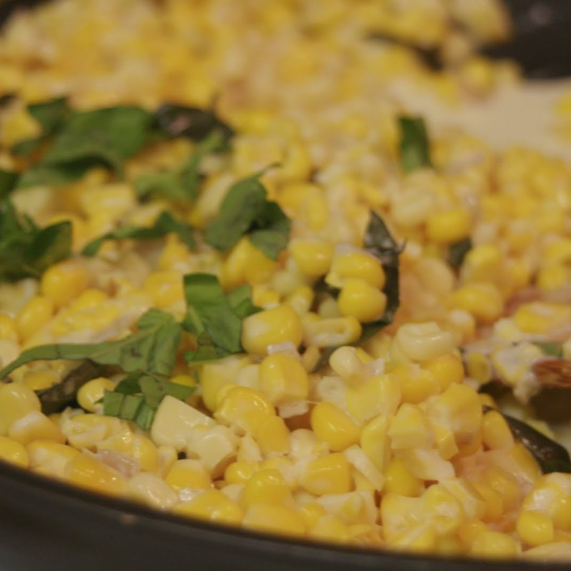 Creamed Summer Corn with Fresh Basil
