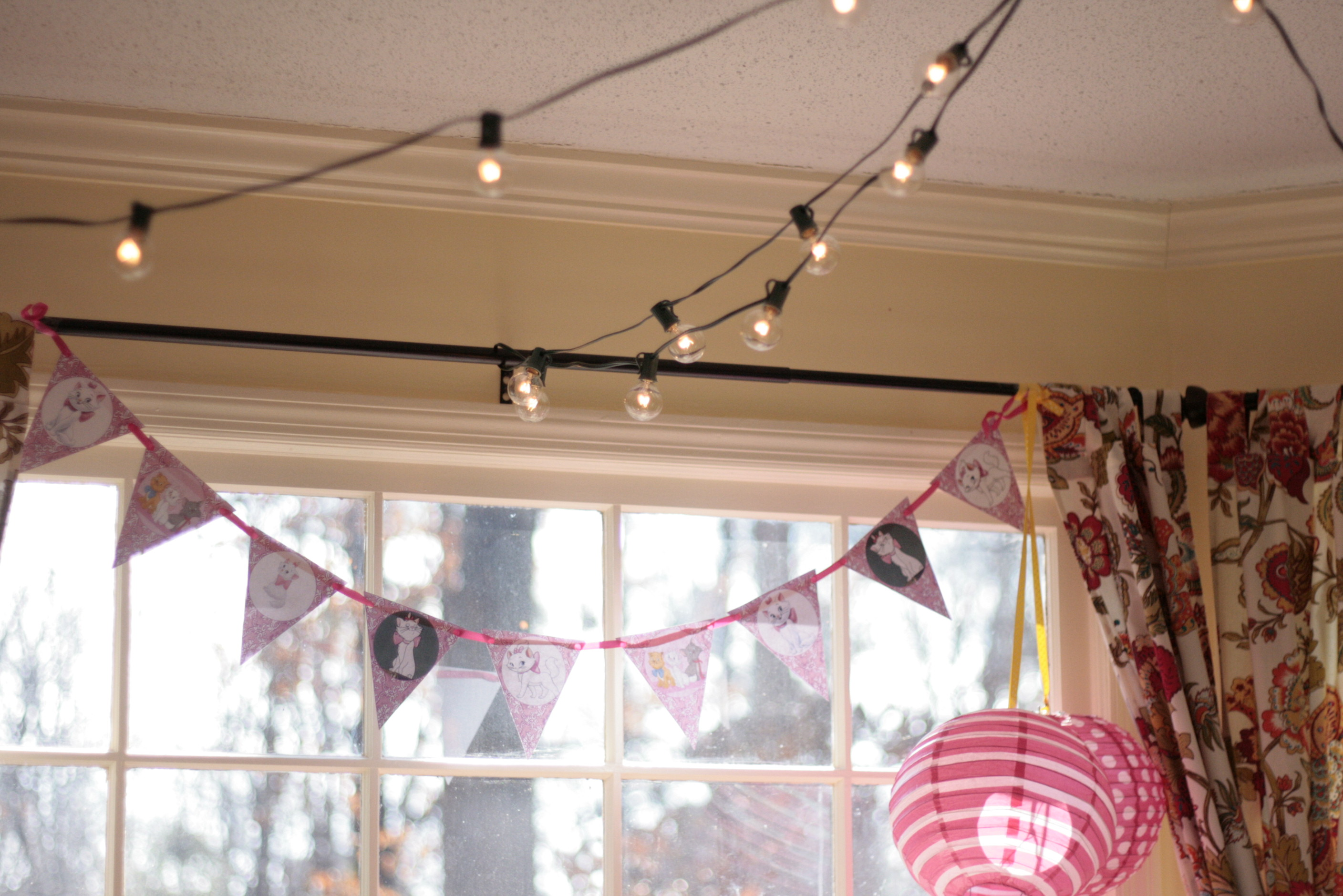 We strung lights to bring in a Paris Cafe look. The birthday girl certainly loved them!